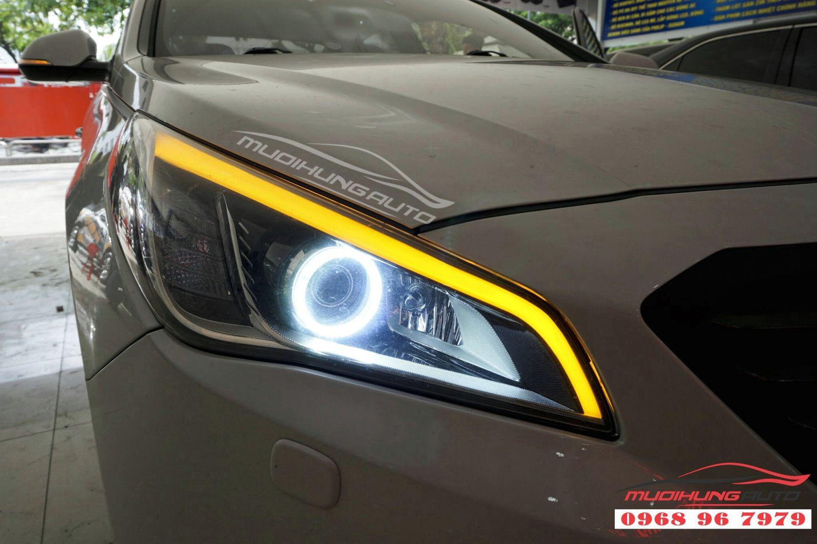 Độ LED mí mika và vòng Angel Eyes cho Sonata 08