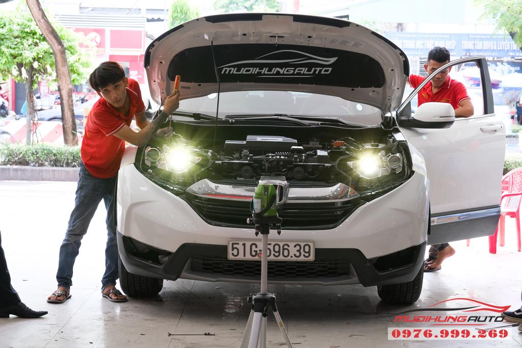 Độ Bi xenon cos pha và gắn Led đèn pha xe Honda CRV 2019 11