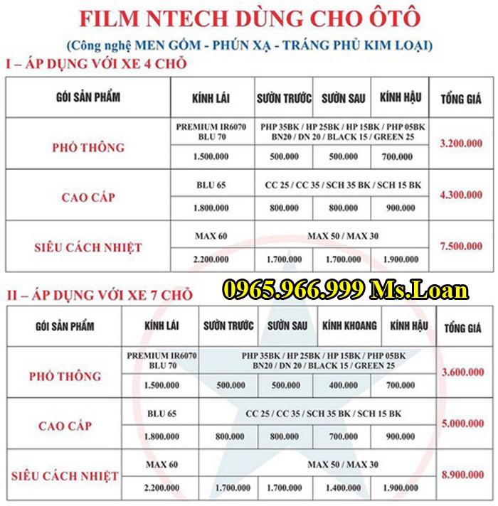 Dán Phim Cách Nhiệt NTech Cho Xe Fortuner 12